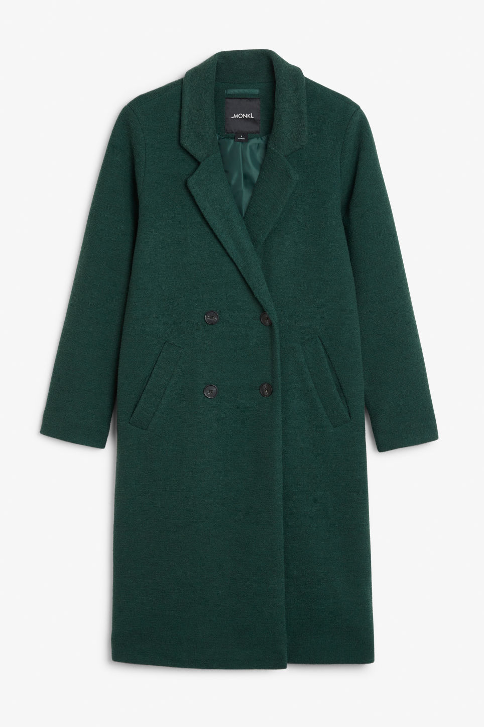 Front image of Monki double-breasted coat in green
