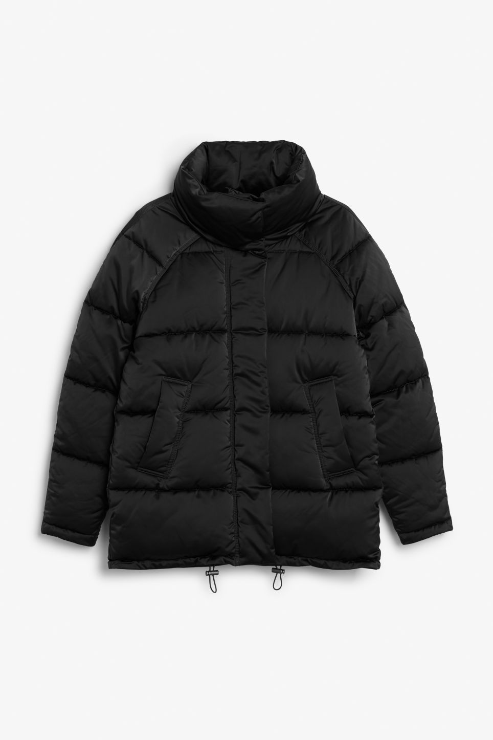 Front image of Monki puffer jacket in black