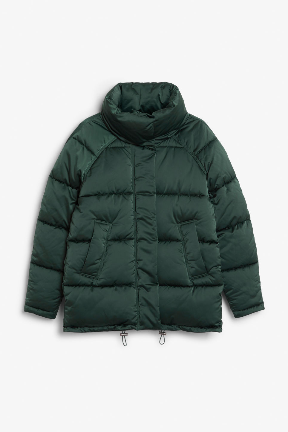 Front image of Monki puffer jacket in turquoise