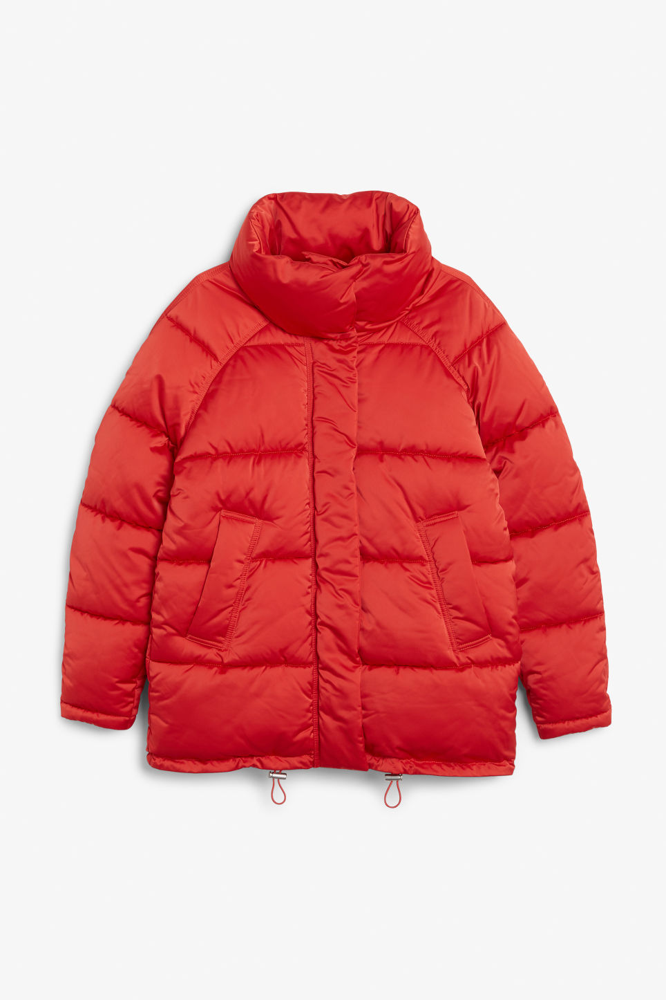 Front image of Monki puffer jacket in red