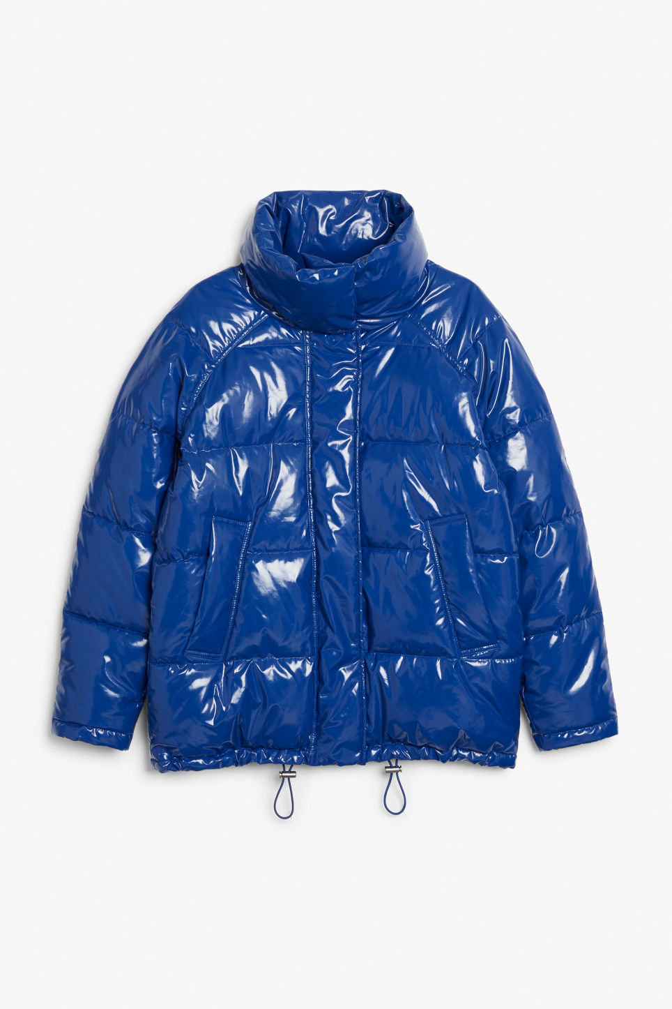 Front image of Monki puffer jacket in blue