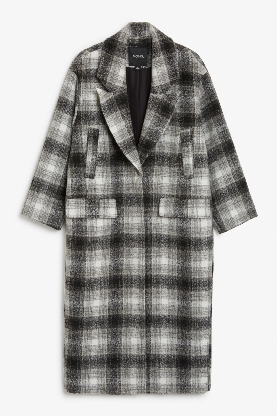 Front image of Monki wool coat in grey