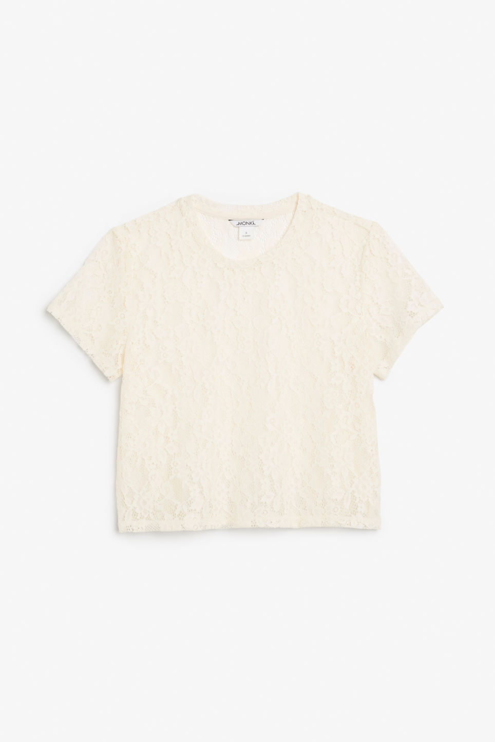 Front image of Monki lace cropped tee in white