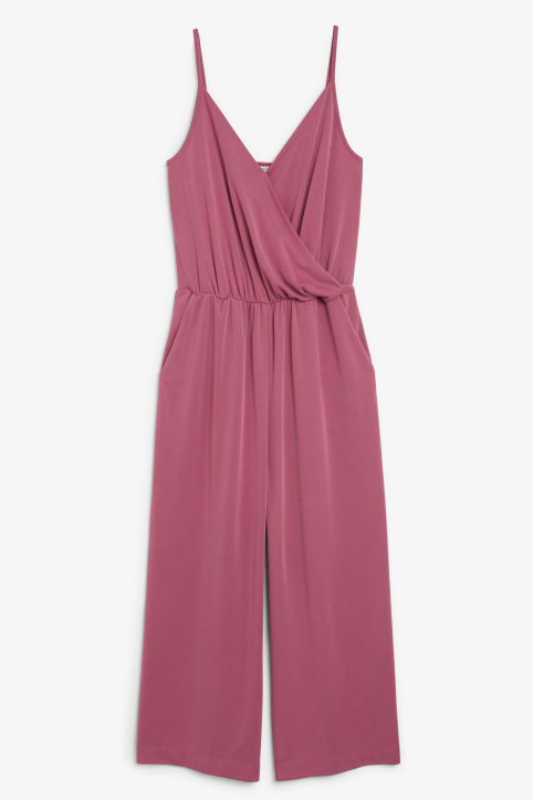 Front image of Monki super-soft wrap jumpsuit in pink