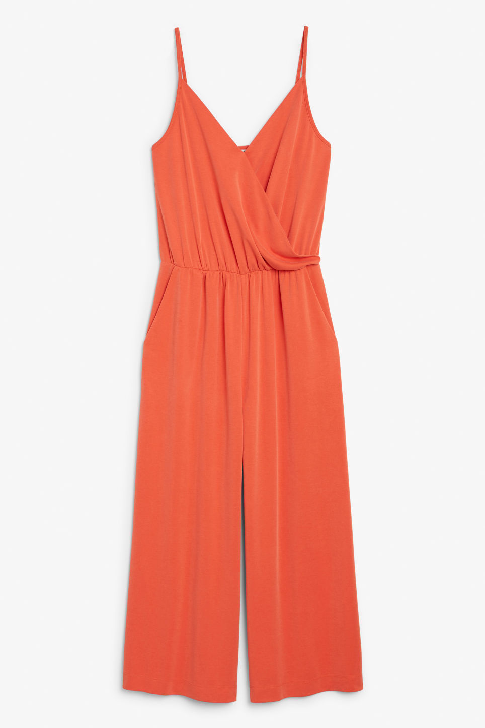Front image of Monki super-soft wrap jumpsuit in orange