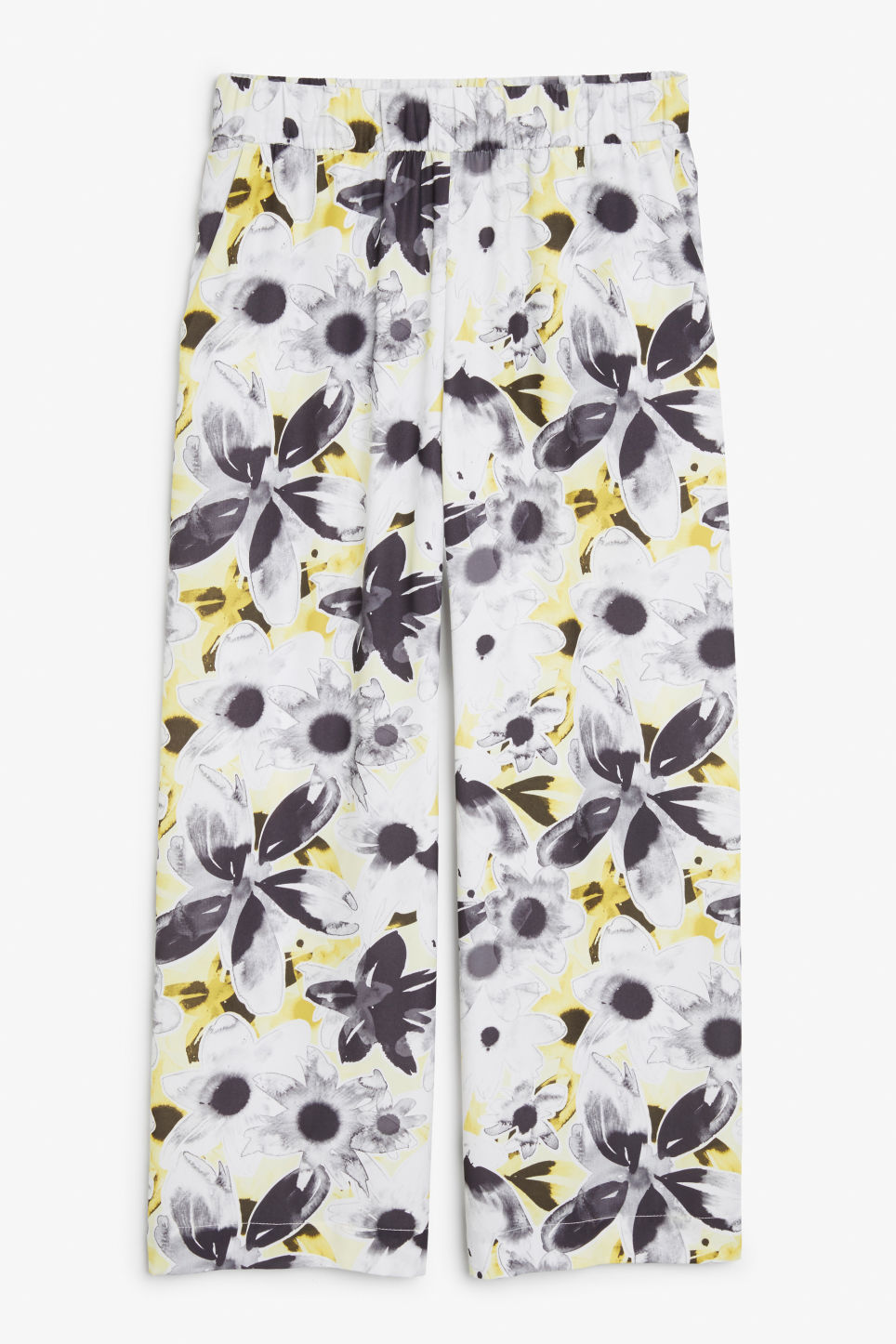 Front image of Monki wide swing trousers in white