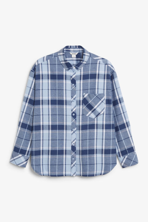 Front image of Monki check shirt in blue