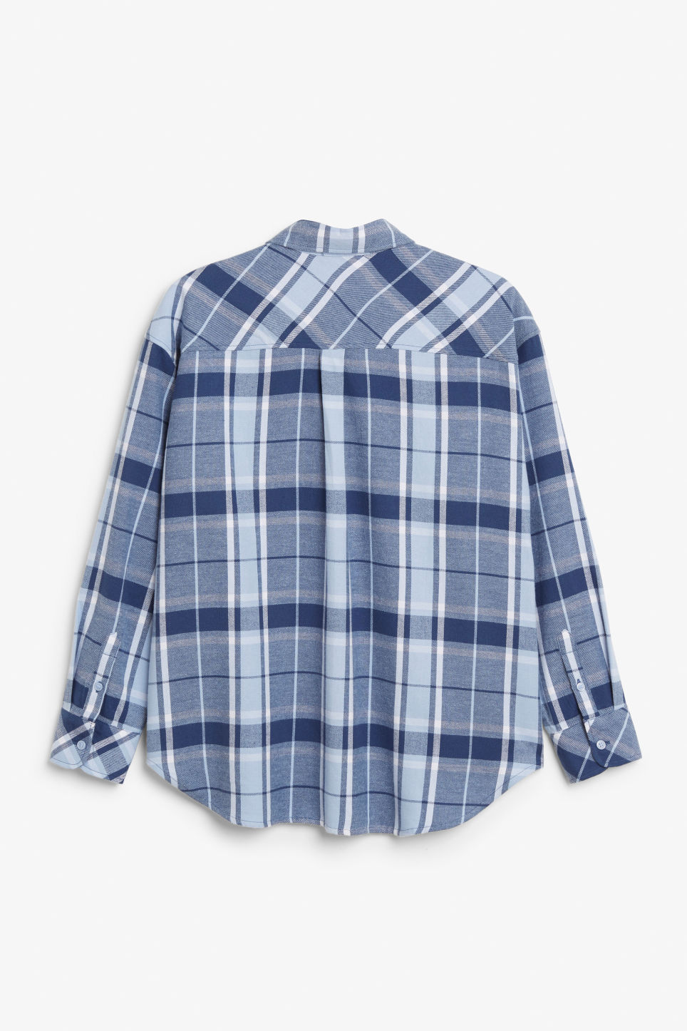 Back image of Monki check shirt in blue