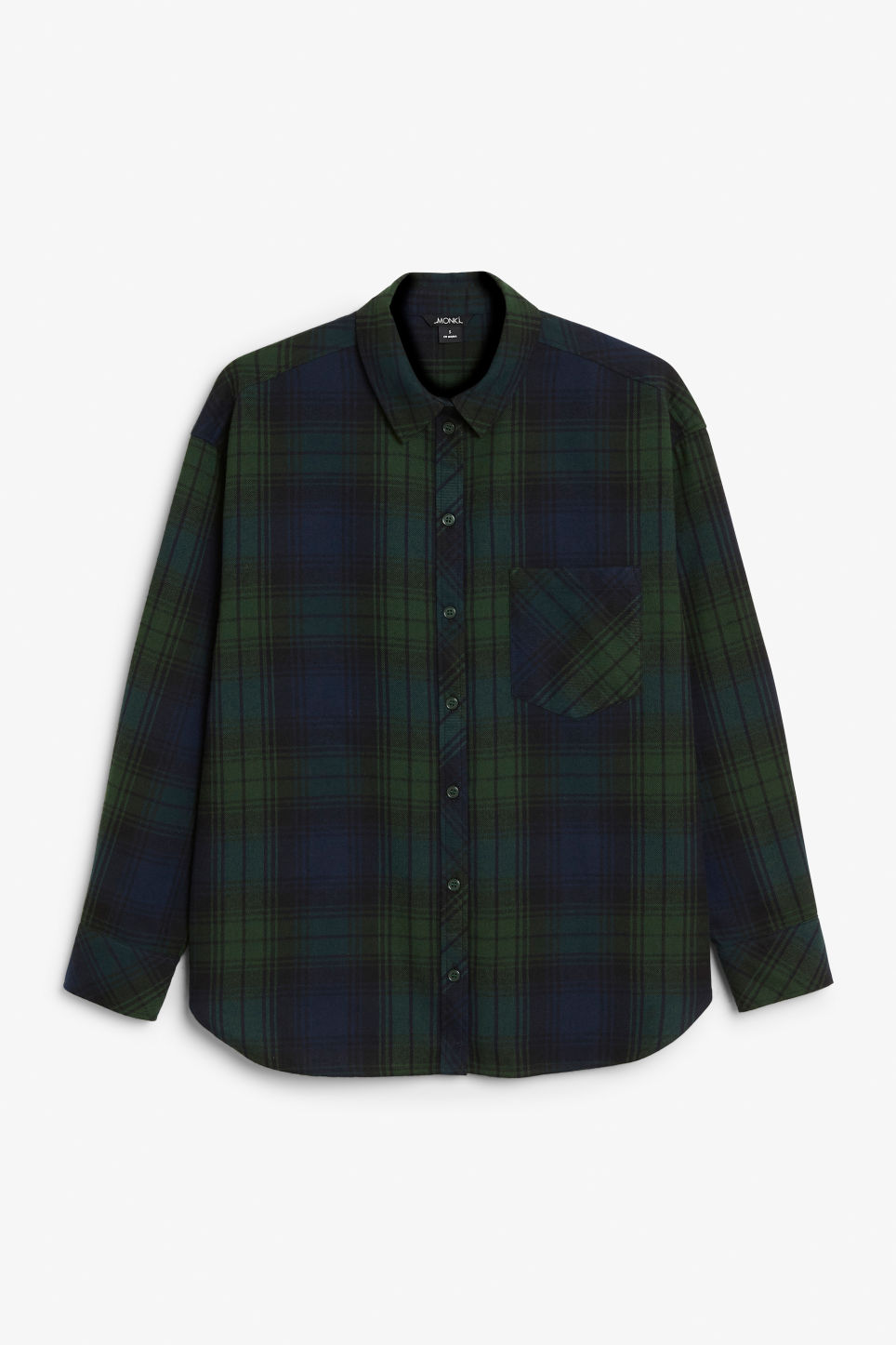 Front image of Monki classic cotton shirt in green