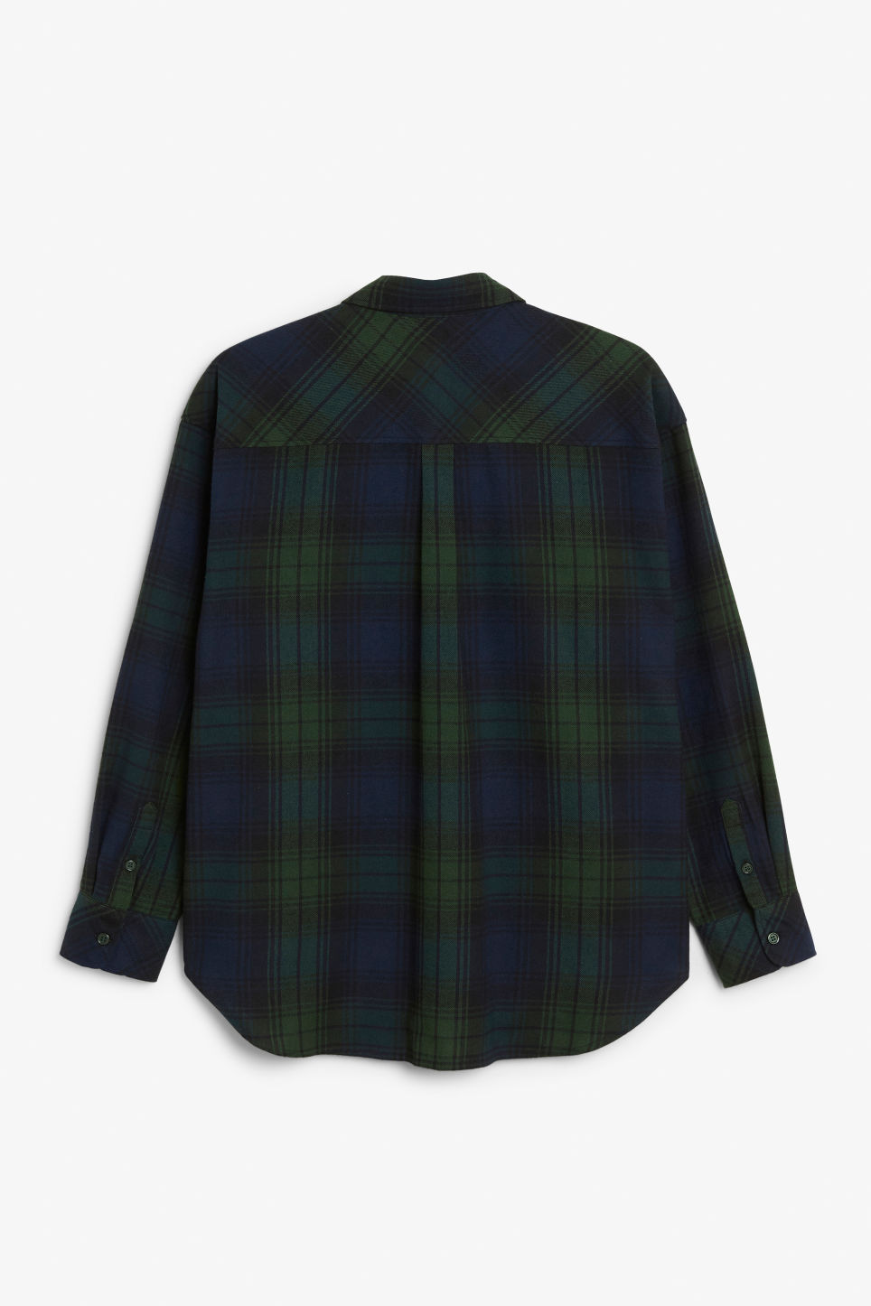 Back image of Monki classic cotton shirt in green