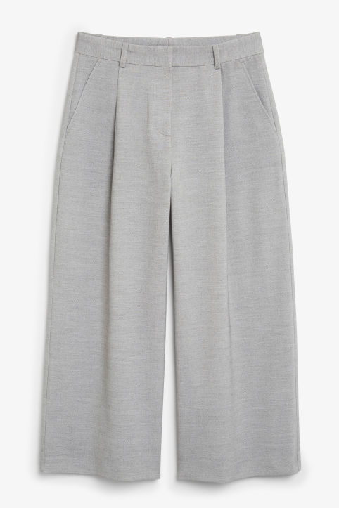 Front image of Monki wide leg trousers in grey