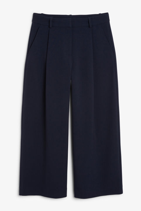 Front image of Monki wide leg trousers in blue
