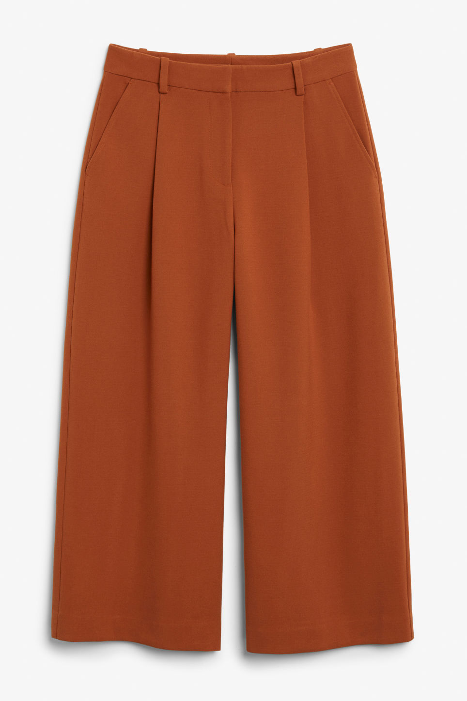 Front image of Monki wide leg trousers in orange