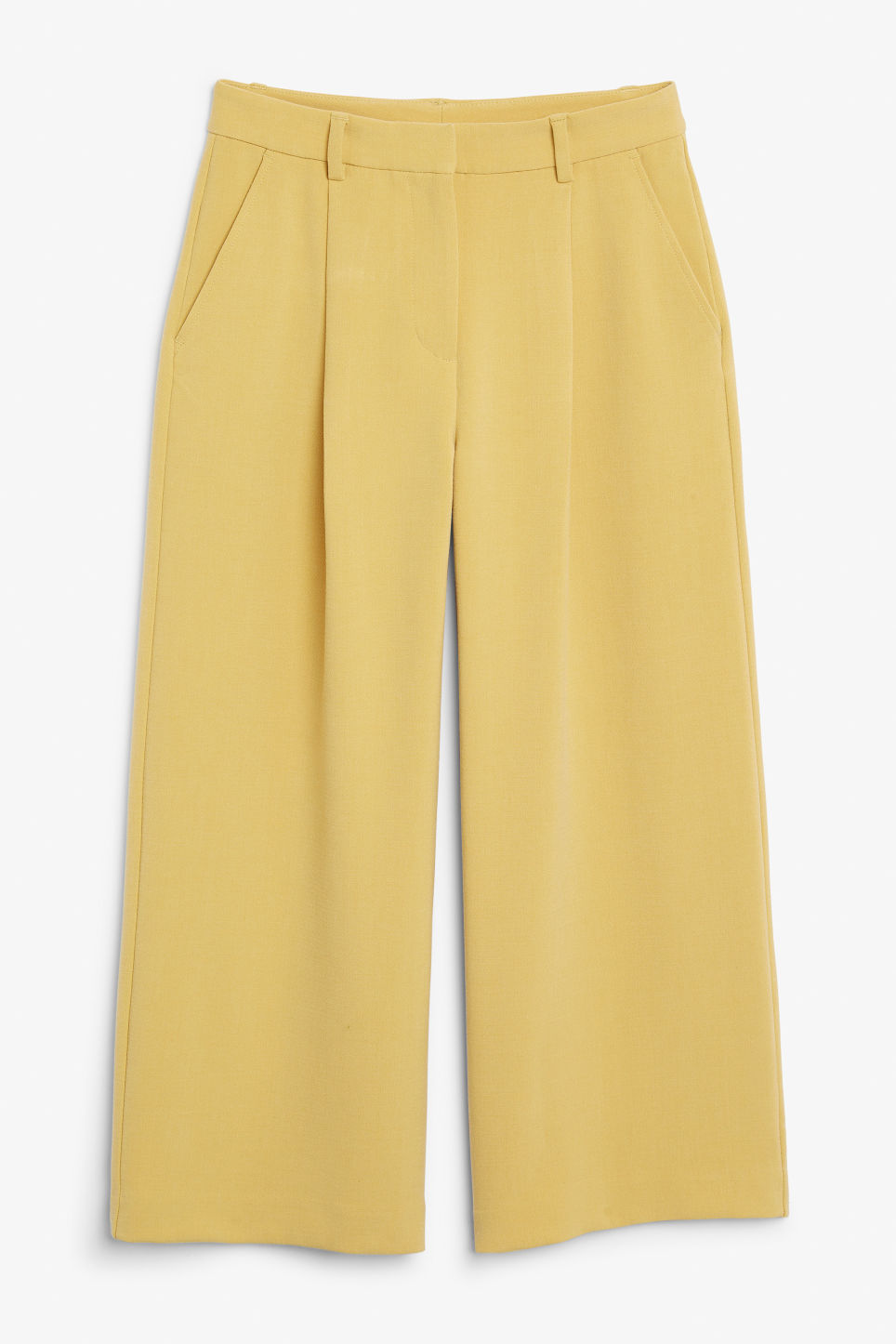 Front image of Monki wide leg trousers in yellow