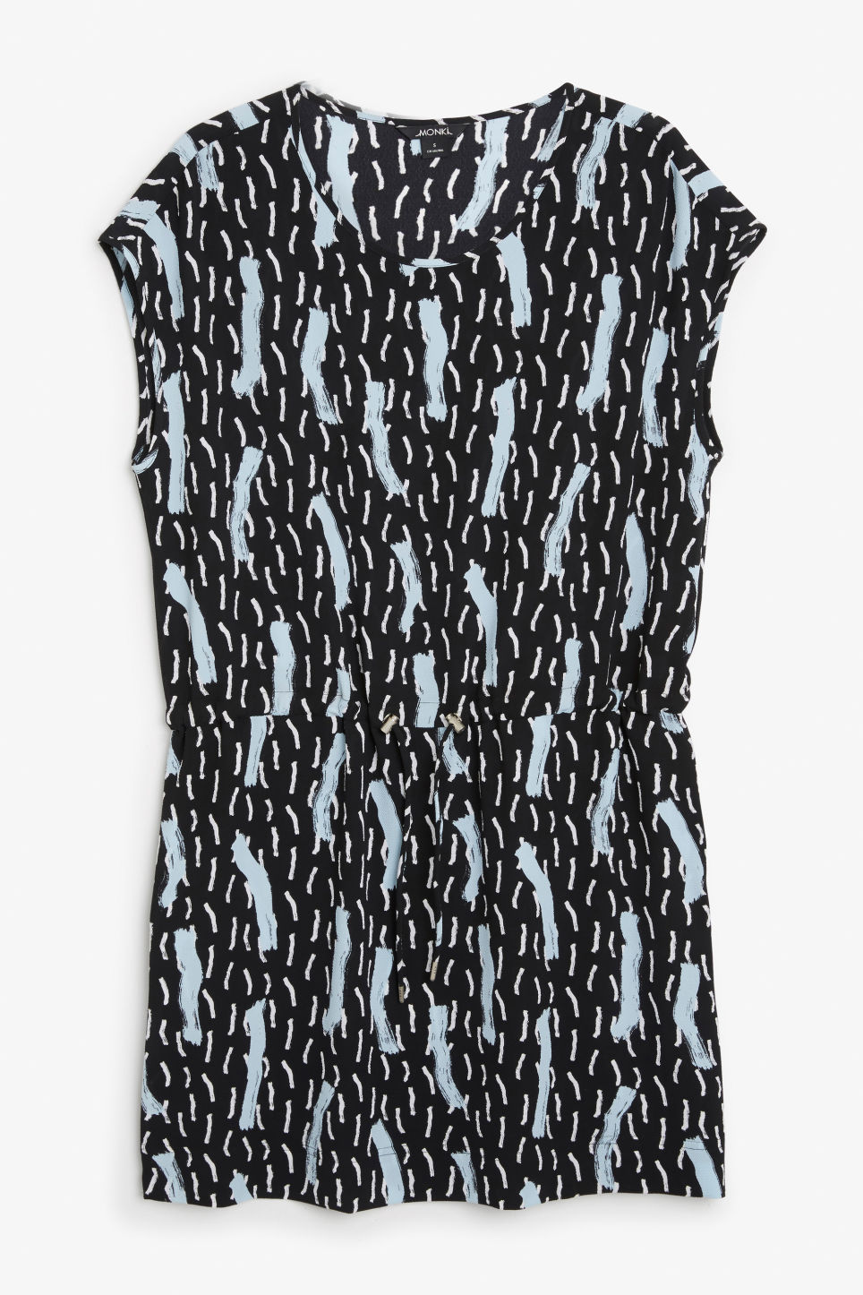 Front image of Monki drawstring dress in black