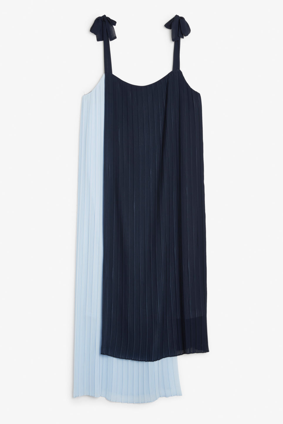Front image of Monki plissé dress with tie straps in blue