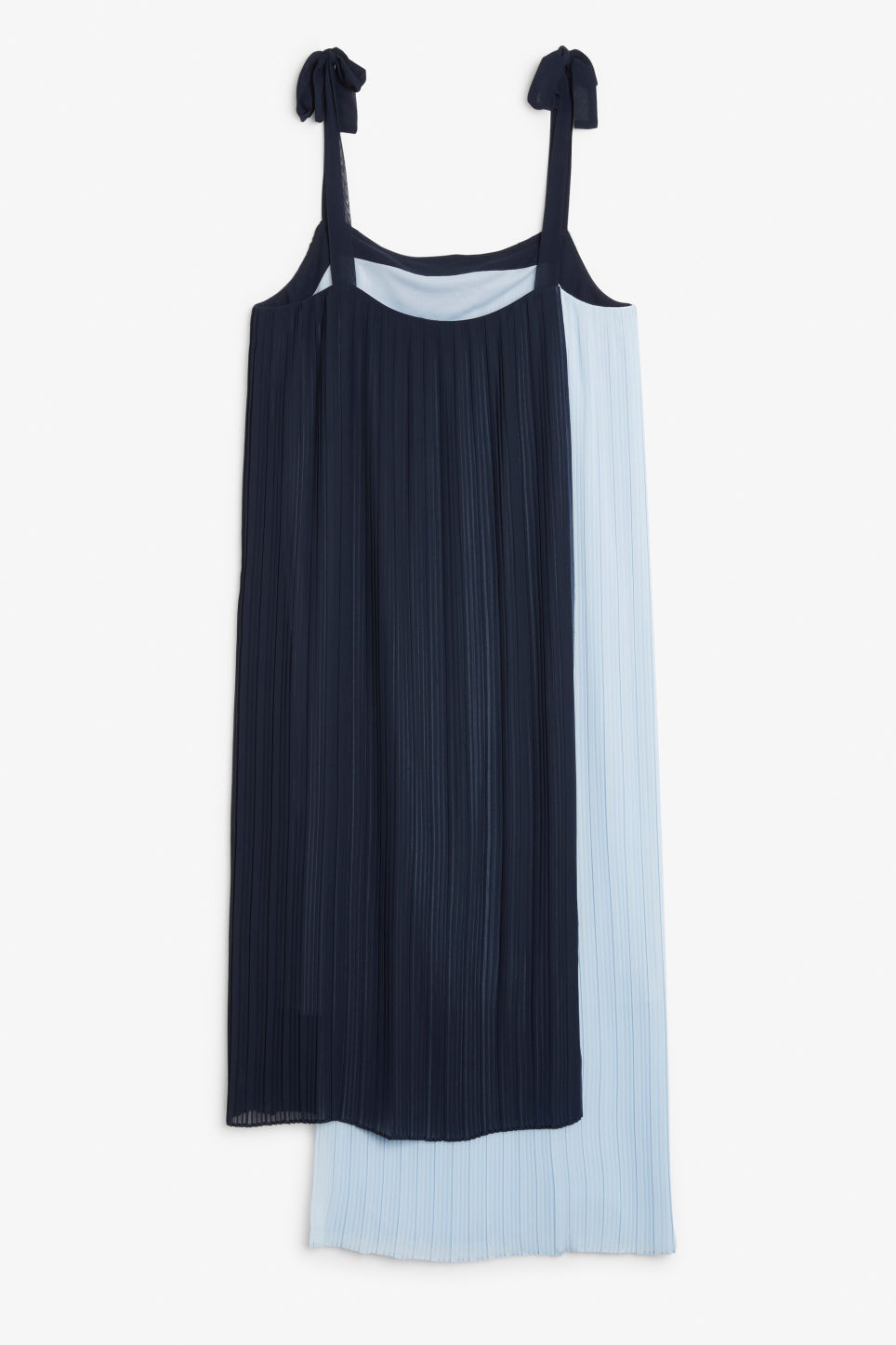 Back image of Monki plissé dress with tie straps in blue