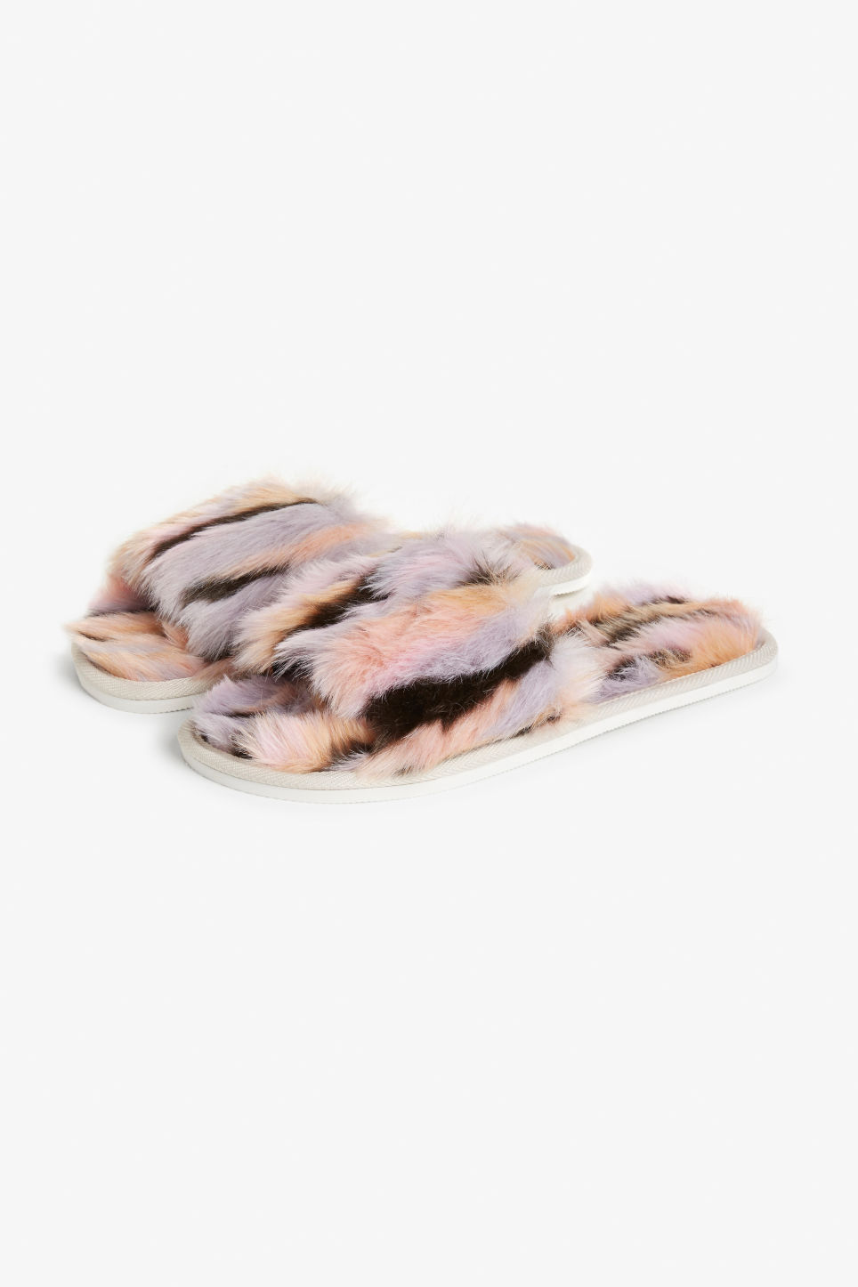 Front image of Monki faux fur slippers in purple