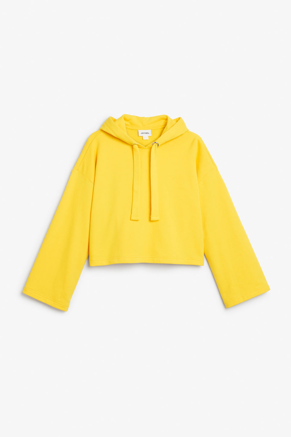 Front image of Monki wide sleeve hoodie in yellow