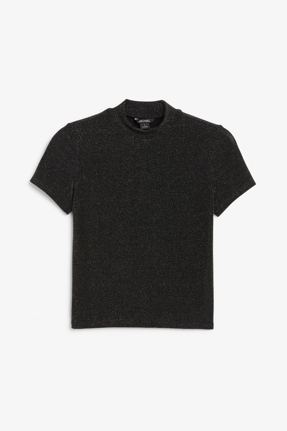 Front image of Monki high neck glitter tee in black