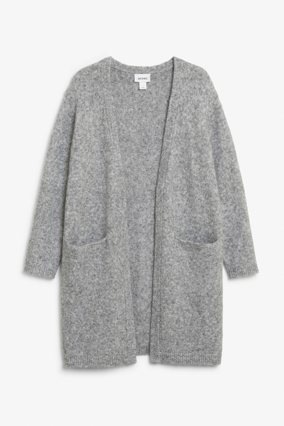 Front image of Monki long cosy cardigan in grey