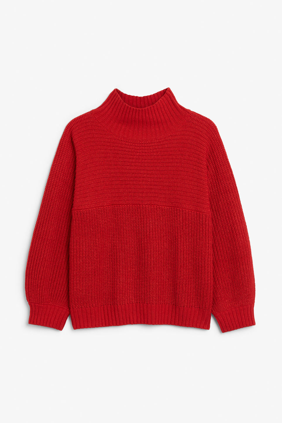 Front image of Monki knit sweater in red