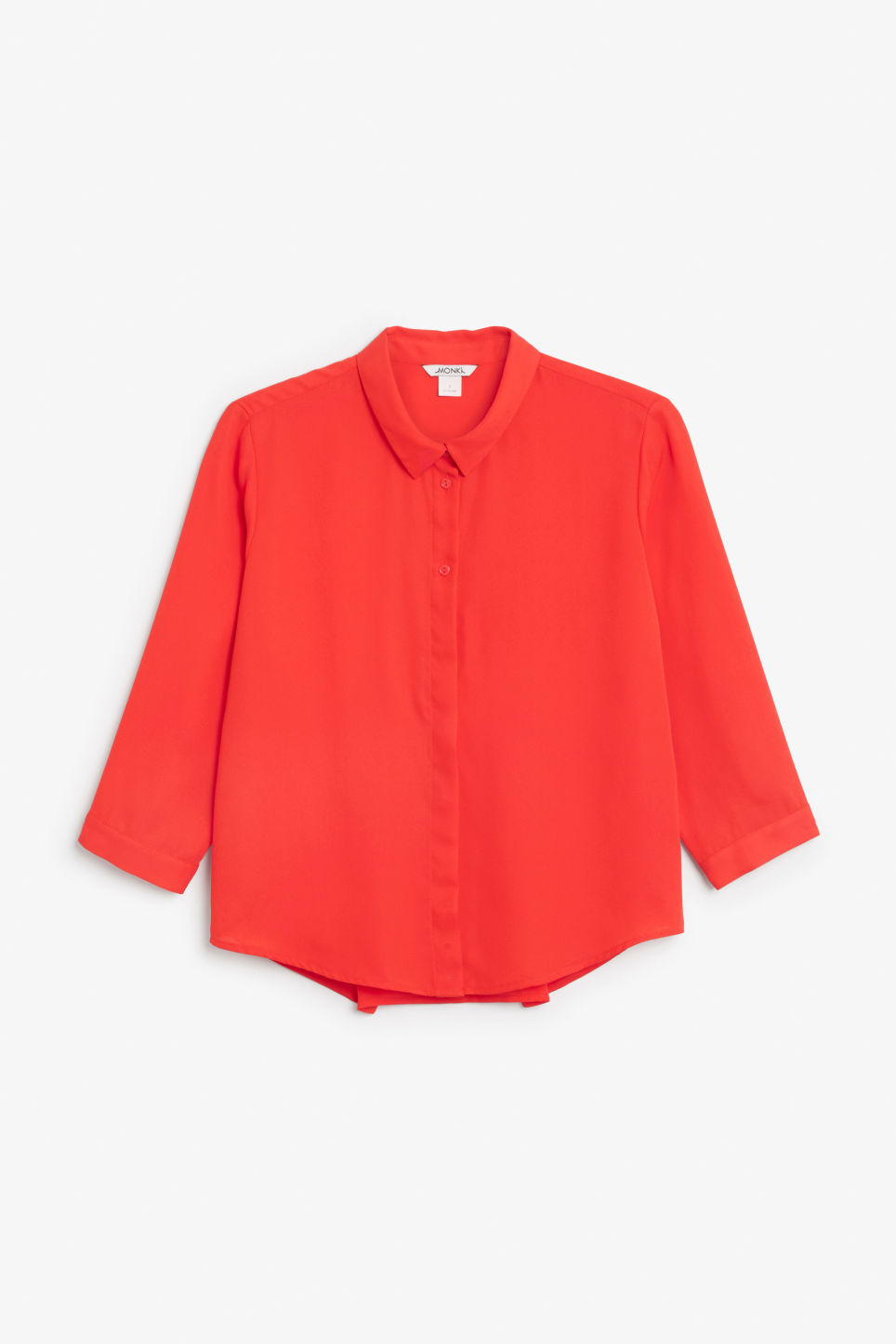 Front image of Monki button up blouse in red