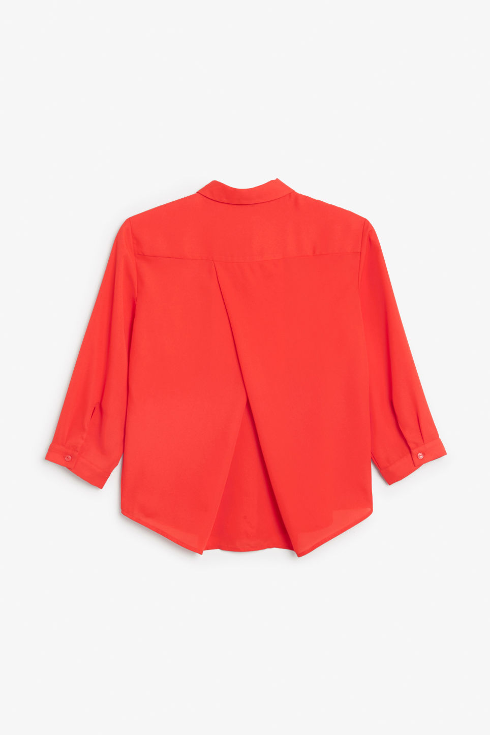 Back image of Monki button up blouse in red