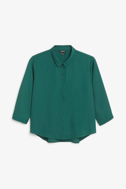 Front image of Monki button up blouse in green