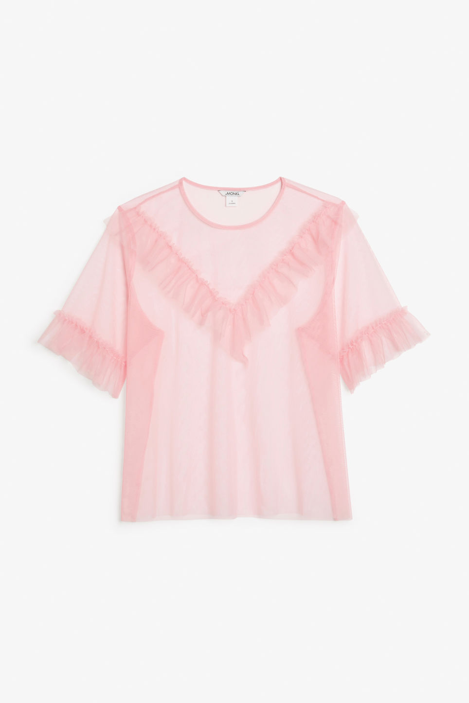 Front image of Monki mesh ruffle top in pink