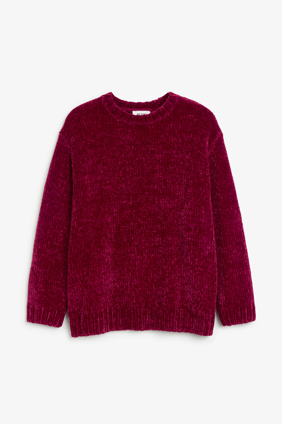 Front image of Monki velvety knit sweater in pink