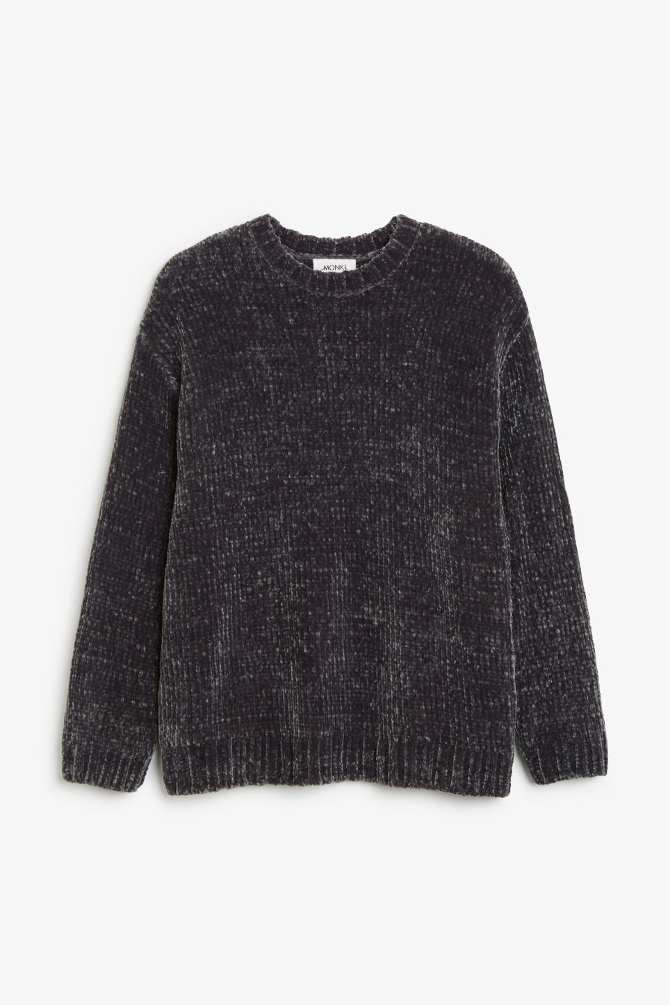 Front image of Monki velvety knit sweater in grey