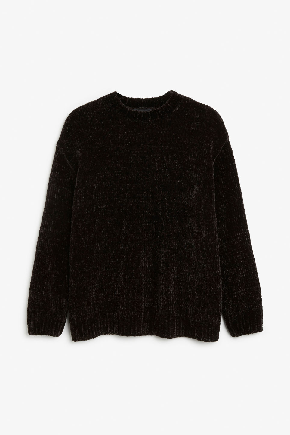 Front image of Monki velvety knit sweater in black