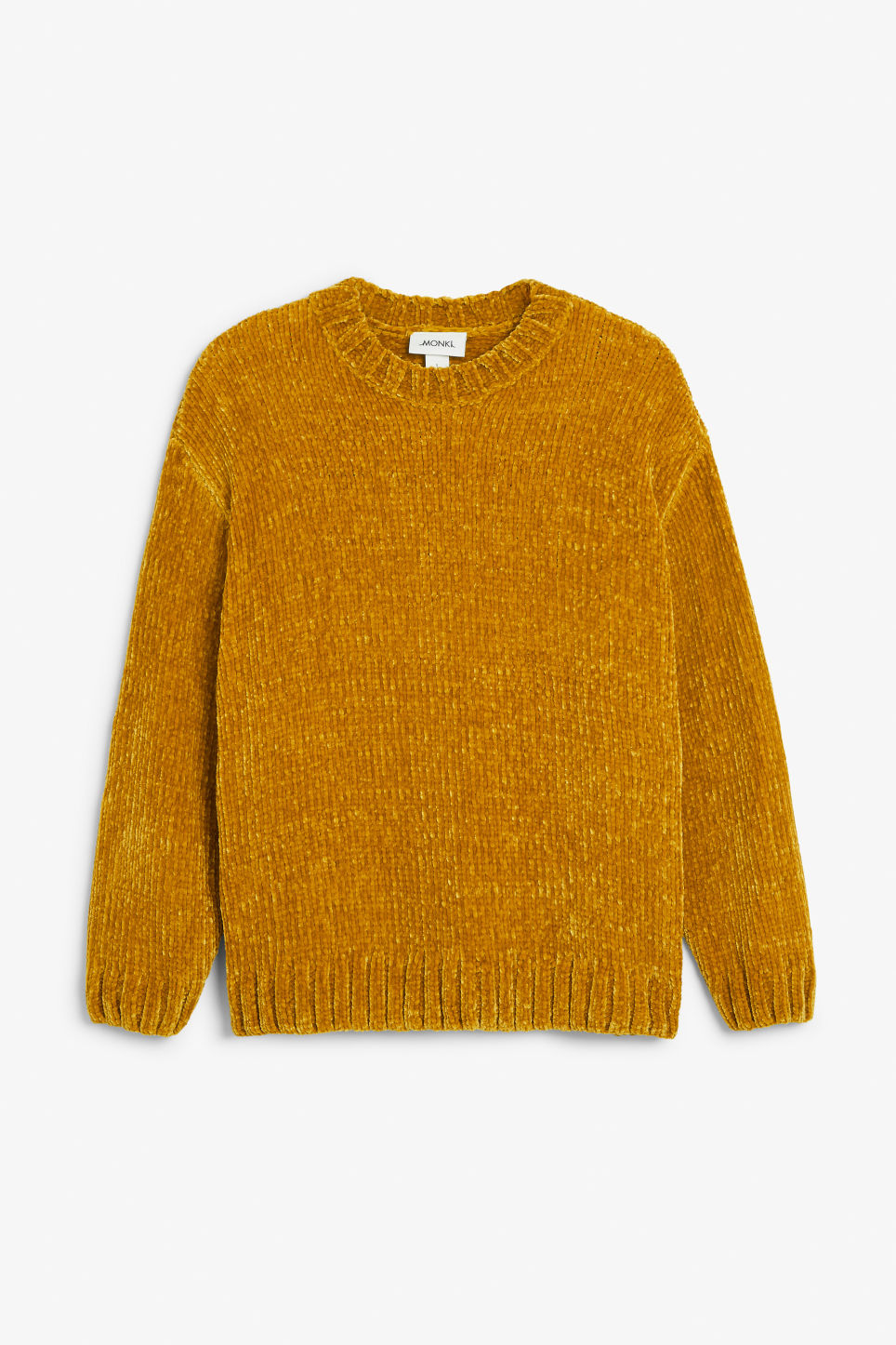 Front image of Monki velvety knit sweater in yellow