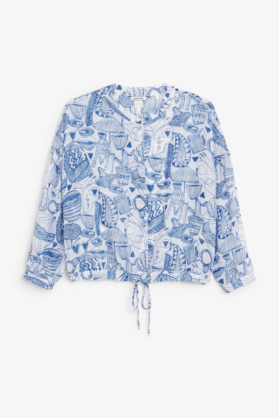 Front image of Monki drawstring blouse in white