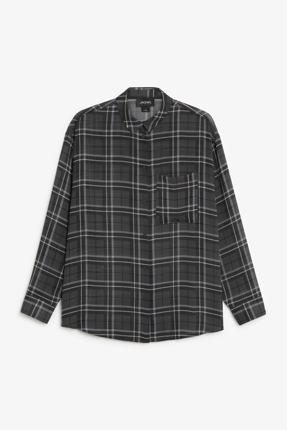 Front image of Monki sheer shirt in grey