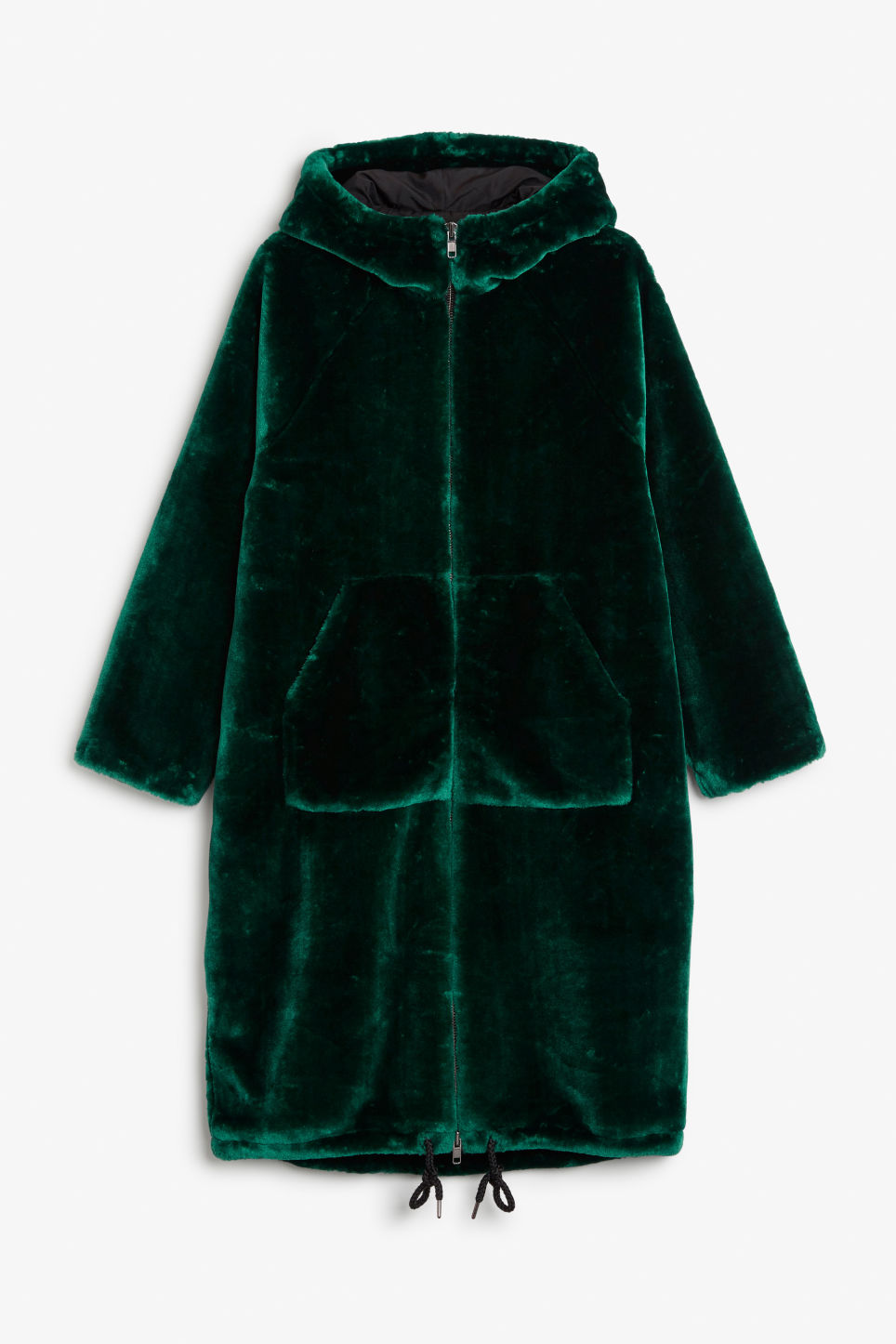 Front image of Monki hooded faux fur coat in green