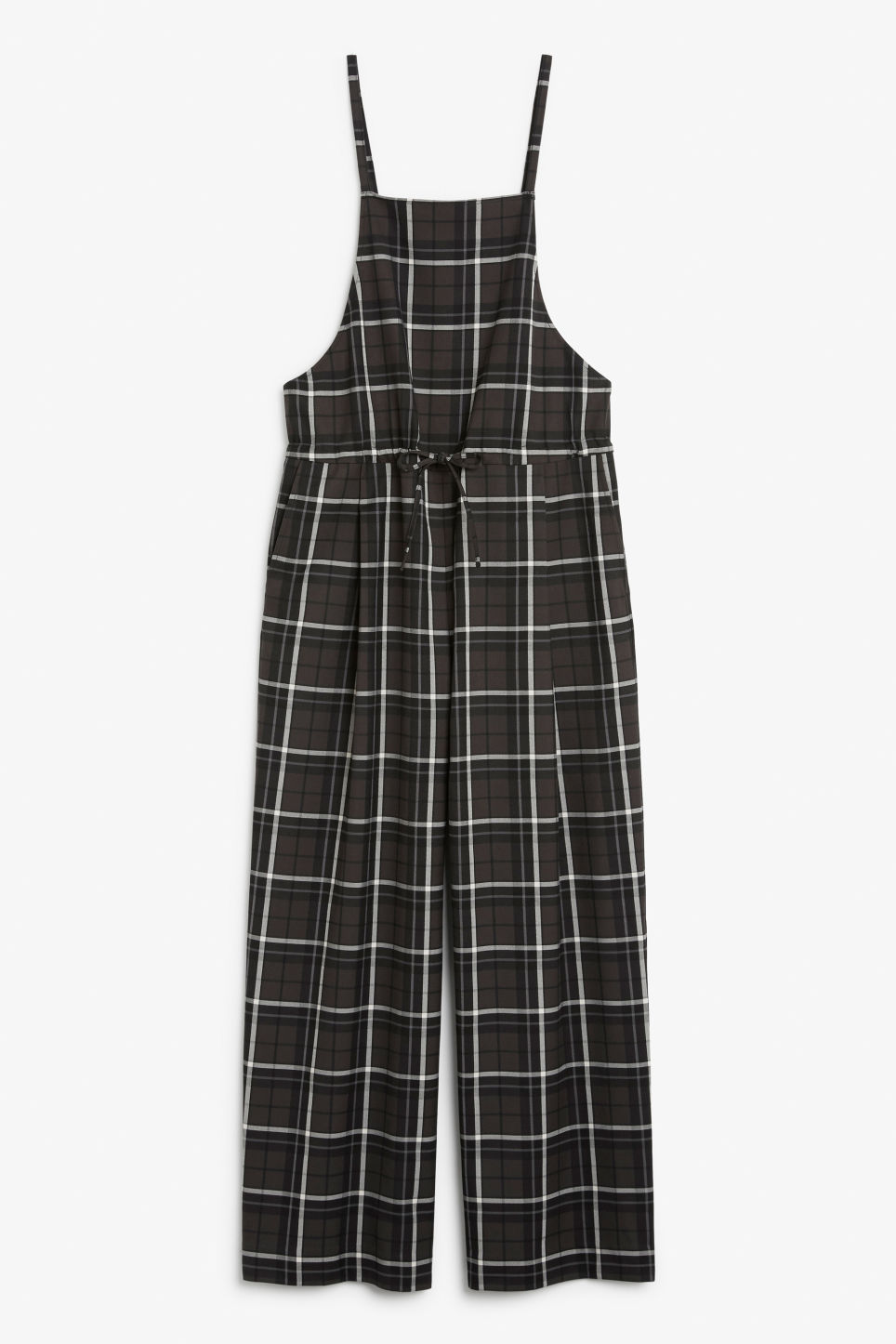 Front image of Monki wide leg dungarees in grey