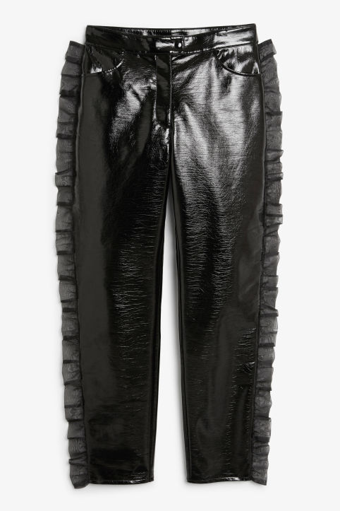 Front image of Monki patent trousers in black