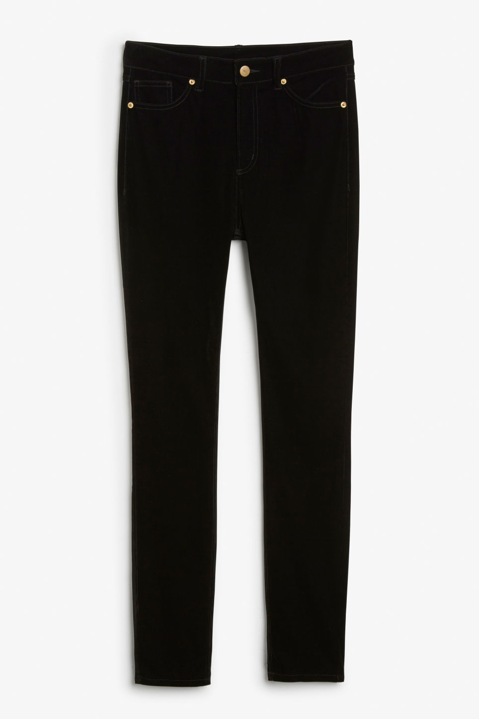 Front image of Monki cord jeans in black
