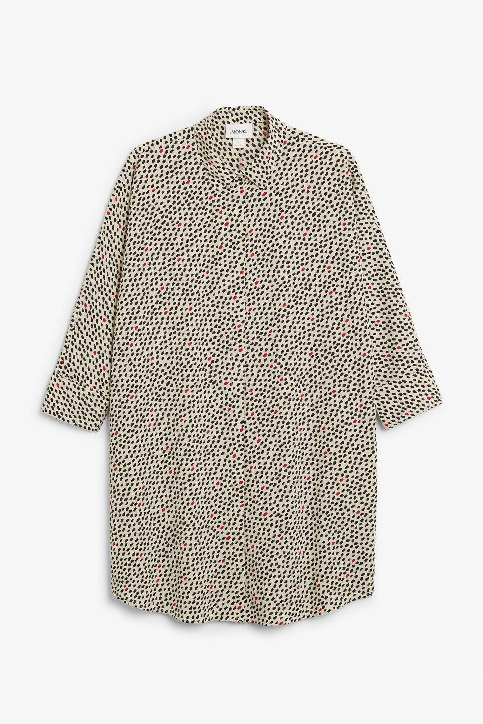 Front image of Monki oversized shirt dress in beige