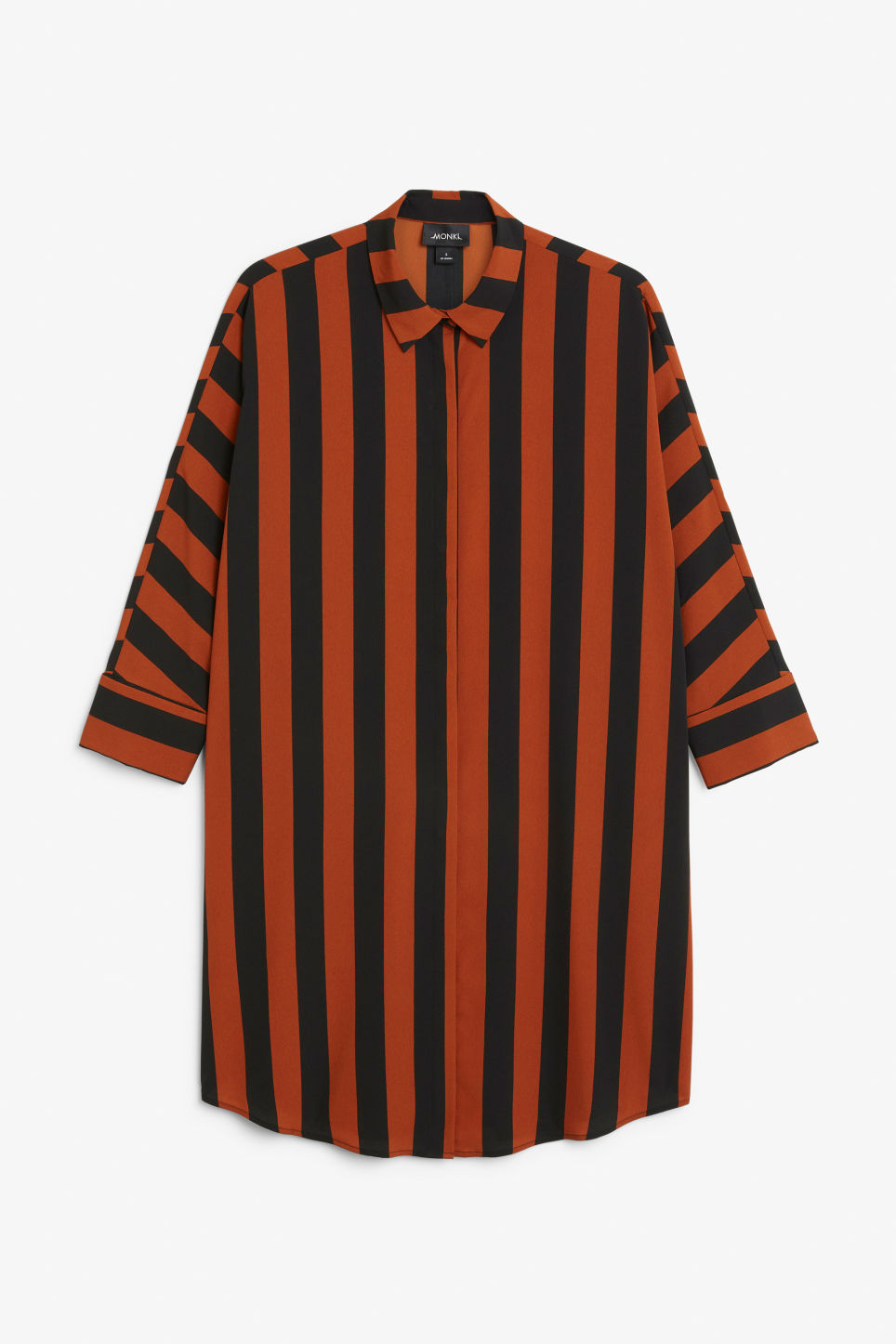 Front image of Monki oversized shirt dress in orange