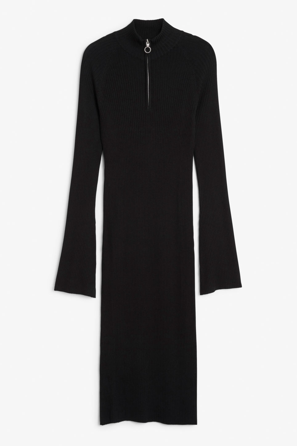 Front image of Monki ribbed sweater dress in black