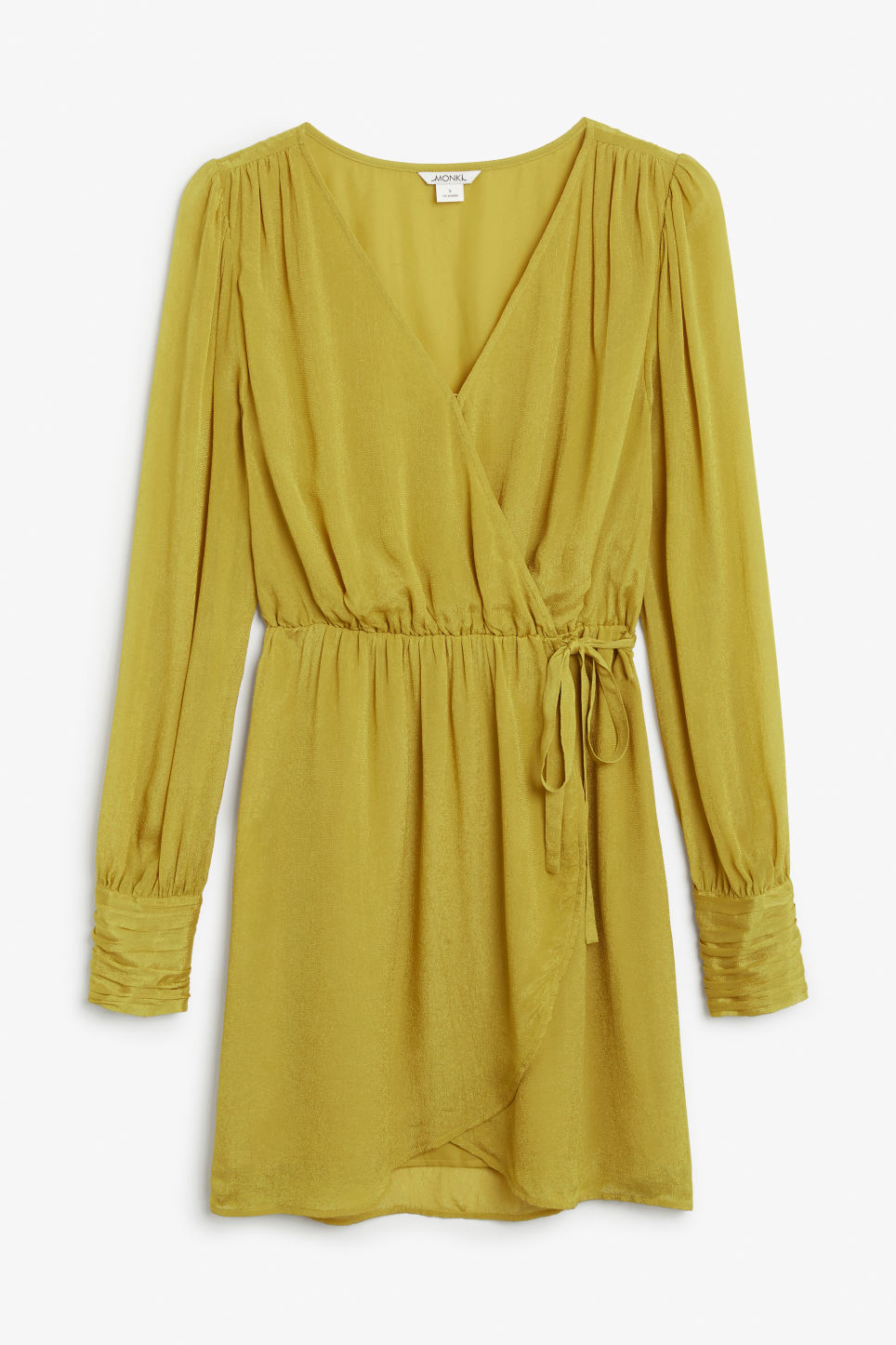 Front image of Monki gold wrap dress in yellow