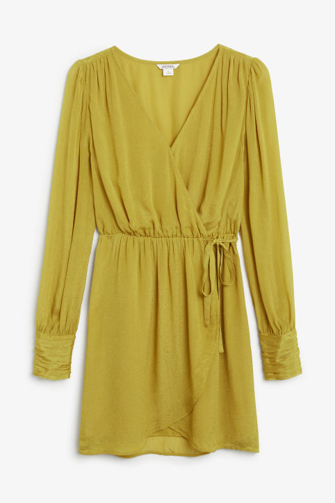 Gold wrap dress