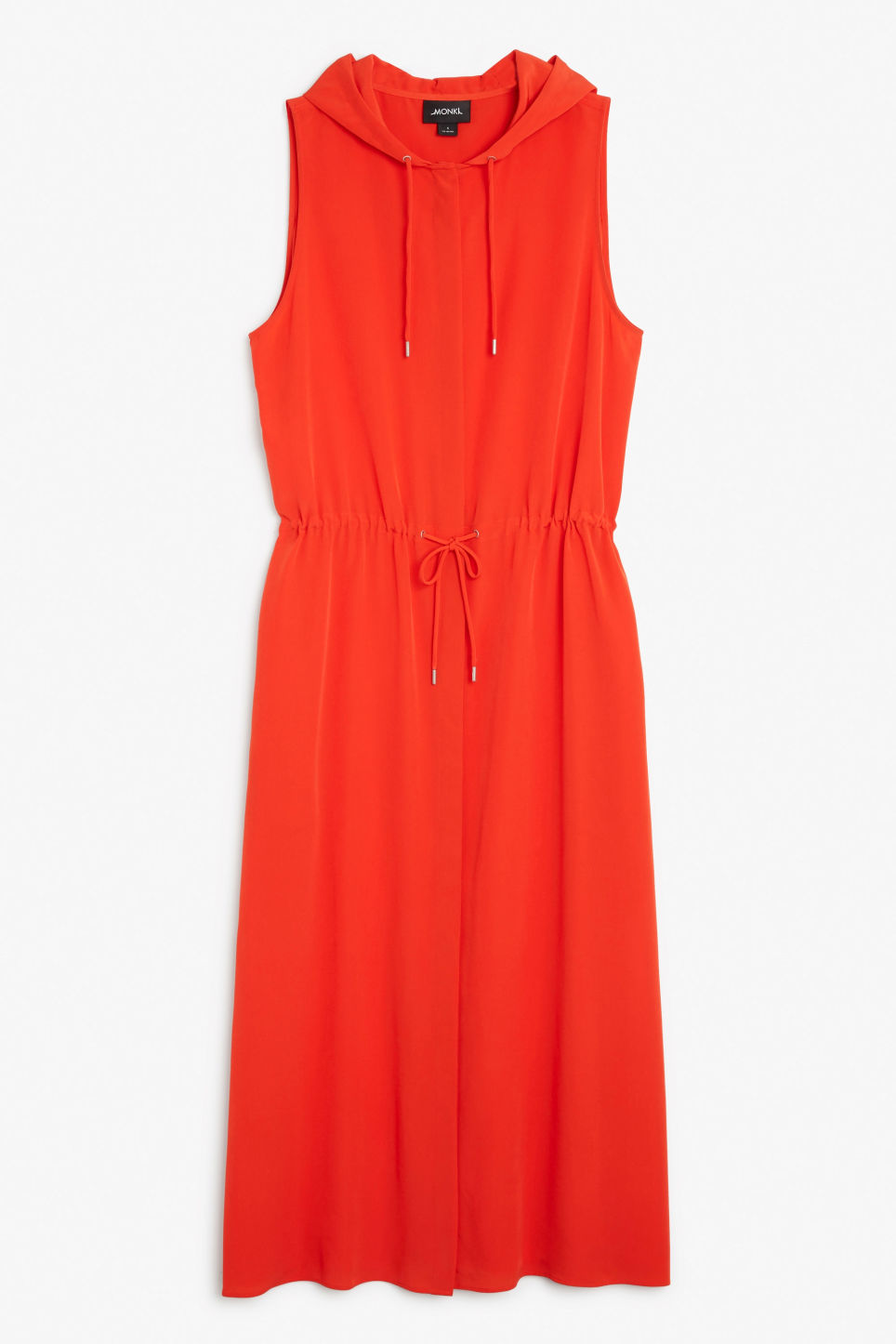 Front image of Monki long hooded dress in red