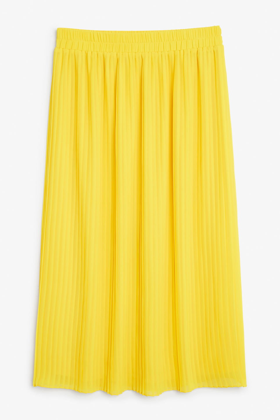 Front image of Monki pleated midi skirt in yellow