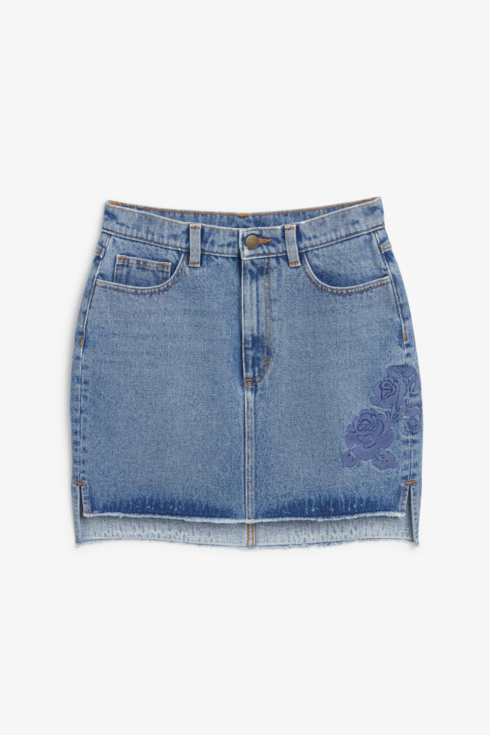 Front image of Monki embroidered denim skirt in blue