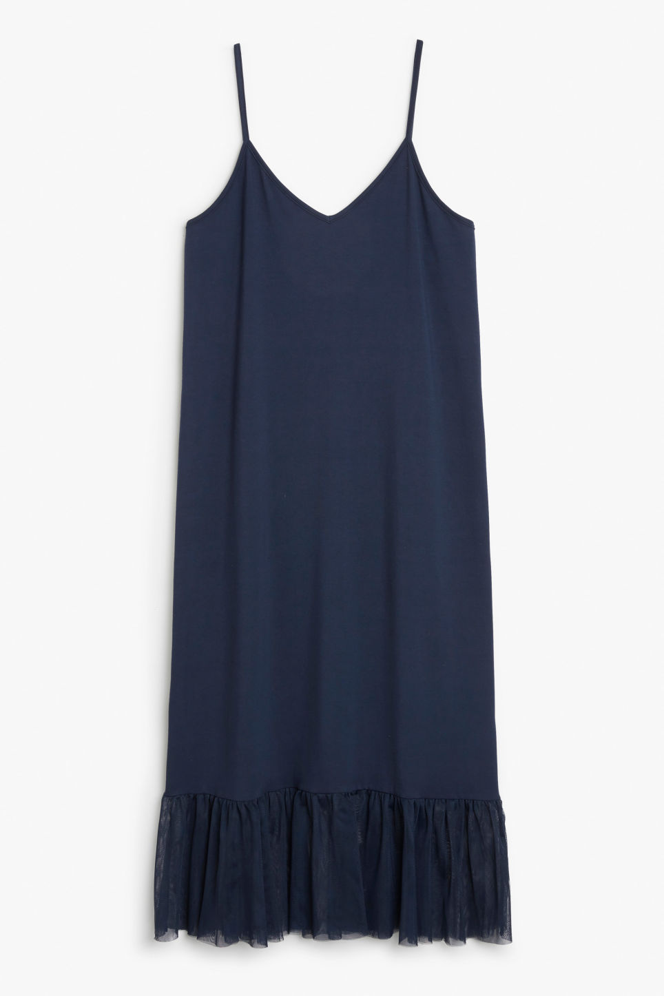 Front image of Monki spaghetti frill dress in blue