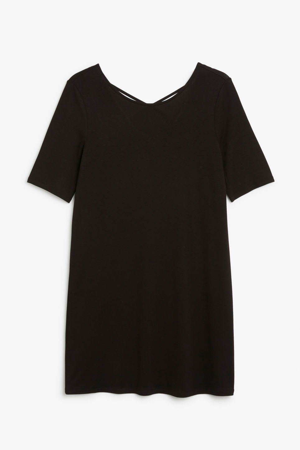 Front image of Monki scoop neck dress in black